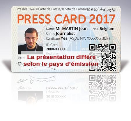 Carte de presse - Press Card journalist - Photojournaliste